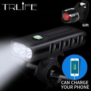 15000lum 2/3*L2/T6 USB аккумуляторная встроенный 5200mAh 3modes велосипед свет водонепроницаемый фары велосипед аксессуары с Задний фонарь C18110701
