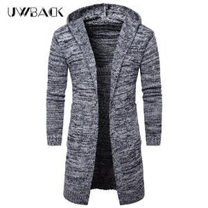Uwback мужчины длинные свитера 2017 Зима с длинным рукавом толстый вязаный кардиган человек с капюшоном черный серый теплый свитер пальто XA399