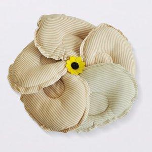 Baby Styling Pillow Cor Algodão Oval Baby Pillow Algodão Listrado Groove Design Anti-cabeça