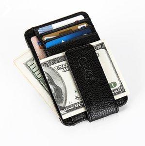Grampo magro do dinheiro, carteira dianteira do bolso, carteira fina do bloco do couro do RFID que golpeia a carteira fina