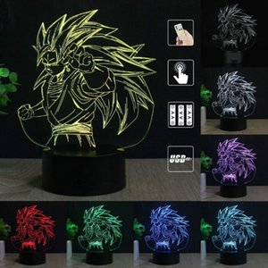Dragon Ball Z Goku 3D LED Night ilusão surpreendente Table Lamp Night Light Toque 7 Cores alterar o efeito