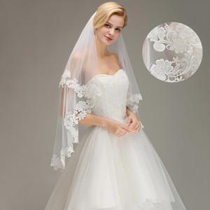 Barato Branco Marfim Duas Camadas de Renda Curto Véus De Noiva Tule Applique Nupcial véus de casamento 100% Real Imagem CPA1446