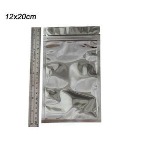 12 * 20cm di calore sigillabile trasparente Mylar pacchetto di plastica della chiusura lampo al dettaglio richiudibili Alluminio Argento Food Grade Packing Zipper serratura della chiusura lampo Borse