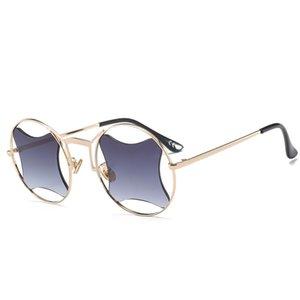 Óculos de sol de designer para as mulheres Retro Rodada Óculos Amarelo Lense Estrutura De Metal óculos de sol Revestimento EyewearPersonalidade oco