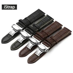 Wholesale-iStrap 나비 버클 밴드와 정품 가죽 손목 시계 시계에 대한 악어 팔찌 14 16 18 19 20 21 22 24 mm
