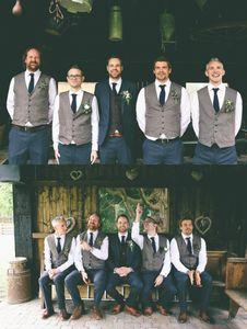 Düğün Yelek Slim Fit Mens Yelek Custom Made Artı boyutu Gri İngiliz Stil Bestman Takım Damat İş Suit Wear İçin Damat Yelekler
