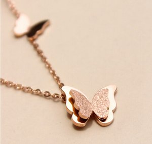NOVITÀ Bella signora fashion Romantic Butterfly Collana Jewelry Fashion Rose Gold-Color Stainless Steel Women Engagement Accessories