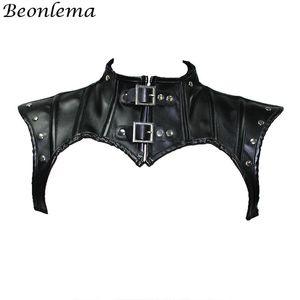 Beonlema Steampunk Neck Corset Black Gothic Tops Shapewear Shawl Women Retro corselet Sexy Leather Rivets Corsets Jacket