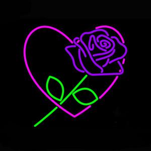 """Rose Love Heart Neon Sign Personalizzato fatto a mano Real Glass negozio di vetro Negozio di fiori Pubblicizza Display Home Decoration Art Gift Neon Signs 18 """"X18"""""""
