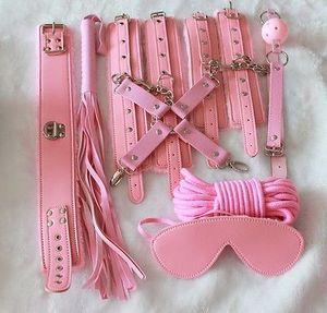 Mascarilla de sexo de gag Kit 8pc Kit Fetish Restricción Cuello Puños Pink Bondage Ball Rope Atxsn