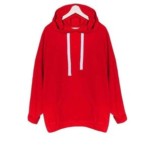 "2018 new three-color ""red, blue, green,"" a solid solid color loose hoodie long-sleeved sweater stylish and cool"