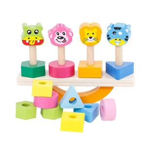 ألعاب خشبية لعبة التوازن الحيوان خشبية الأطفال لغز شكل هندسي اللبنات مجموعة من أربعة أعمدة كتل Jenga