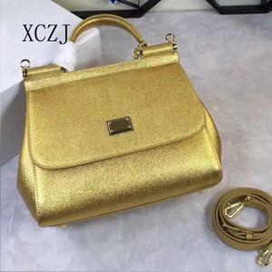 Ms. XCZJ, Sac à main, Sacoche simple, solide, à une épaule, Imprimé paume, Cuir de vachette doré. Haute Qualité Livraison Gratuite Or Neuf Pour Femme