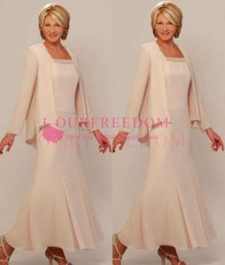 Nouvelle arrivée mère de la mariée mariée robe robe de soirée robes de soirée avec veste longueur au genou mère hors robes de mariée robes à manches longues