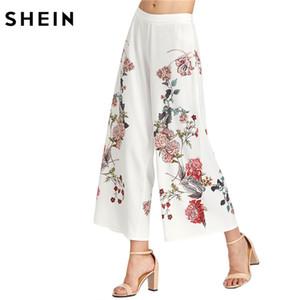SHEIN Mujer Blanco Botánico Estampado Cremallera Lateral Pantalones Anchos Señoras Verano Cremallera Volar Media Cintura Floral Elegante Pantalones Largos