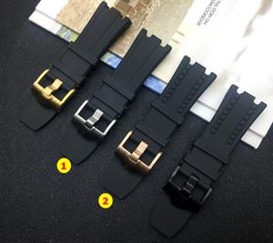 벨트 해양 오크에 대한 28mm 블랙 성격 고무 실리콘 손목 시계 남성 시계 밴드 AP 스트랩