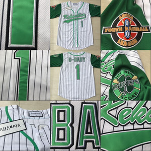 Estados Unidos Movie Jerseys Kekambas Mens 1 Jarius G-Baby Evans Uniforme Uniforme Hardball Incluye ARCHA Patch 100% Stitched White Green Jersey