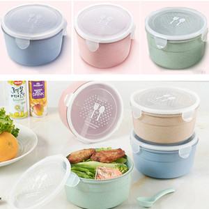 Ronda 3 Parrilla Loncheras con tapa Microondas Alimentación Fruta Caja de almacenamiento + Cuchara Take Out Contenedor Vajilla Conjuntos HH7-1467