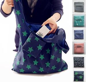 6styles riutilizzabile pieghevole Shopping Bags Eco bagagli alimentari borse stella striscia Dot stampato Shopping Tote Handbag 53 * 35cm FFA761 120pcs-2