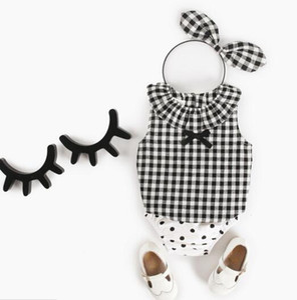 Ins новая девочка Майка устанавливает лето Pet Pan CollarSleeveless горошек плед цветок футболка + короткие детская одежда наборы 3 стили