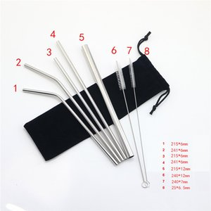 "304 Stainless Steel Drinking Straws Set 8.5"" Straight Bent Reusable Drinking Straws Sets 7 Colors"