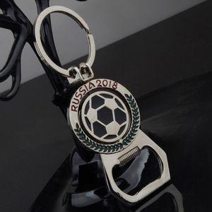 Coupe du monde de football porte-clés créative mascotte ouvreur de bouteille en métal tournant de football porte-clés ouvre pendentif cadeaux WX9-286
