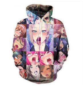 Wholesale--Free shipping Anime Ahegao Funny 3D Print Men Women Hoodies Street Wear Casual Hip Hop Pockets Sweatshirt clothing ZGXL01