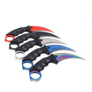 카운터 스트라이크 클로 Karambit Knife CS GO 스테인레스 스틸 트레이닝 서바이벌 포켓 나이프 캠핑 도구 고정 블레이드 나이프