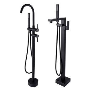 매트 블랙 독립 구조로 서있는 욕조 수도꼭지 목욕 르네 샤워 분배기 층 마운트 욕조 필러 믹서 꼭지 샤워 꼭지