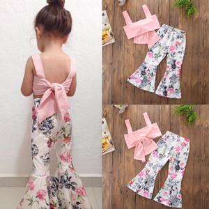 2018 Nuove neonate che coprono gli insiemi Rosa Bow Knot Canotte Floreale Flare Pants 2Pcs Ragazze del bambino Outfit Bambini Bambini Boutique Abbigliamento