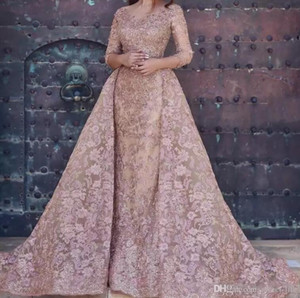 Dubai Arabic 2019 Modest Mermaid Prom Dresses Sexy Long Sleeves Full Lace Appliques Elegant Formal Party Evening Dress With Overskirt