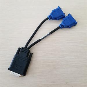 Original usado Molex DMS-59 DMS59 59Pin DVI Macho para 2-Port VGA Feminino Vídeo Y Splitter Cabo Curto 1 PC para 2 MONITOR