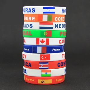 Ücretsiz DHL 2018 Dünya Kupası takı Silikon bilezik Bayrak Logosu Spor Aksesuarları Futbol Hayranları Silikon Elastik KIMLIĞI D ...