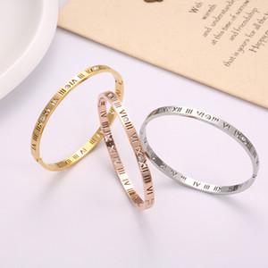 Algarismos romanos oco pulseira de aço inoxidável moda 18k subiu de ouro pulseira de diamantes de titânio aço oco pulseira de senhoras