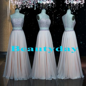 Two-Piece Prom Dresses 2019 새로운 중동 공식 이브닝 드레스 들러리 파티 파티 선발 드레스 플러스 사이즈 리얼 이미지 쉬폰 쉬어 백
