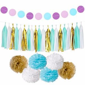 Home Decor Fengrise Kreis Garland Seidenpapier Pompom Hochzeit Dekoration für Haus-Geburtstags-Party für Kinder Bevorzugungen Baby Shower Supplies