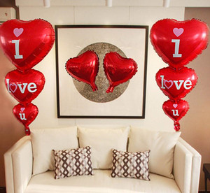 I love U Alphabet air balloons Party wedding Decoration red 3 conjoined Mylar Foil Balloon large Letter Balloons home DIY DHL Free