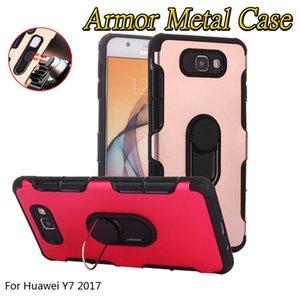 Caso para huawei y3 2017 y3 2018 y7 2017 y7 prime dual layer armadura de metal híbrido case hold carro anel magnético kickstand case