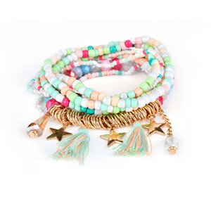1 Piece lovely bead bracelets colorful Bohemian national style 5colors for woman and girl free shipping