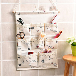 Art 8 Pocket Wall Hanging Storage Bag Fashion Makeup Cosmetic Sundries Organiser organizador Linen Kitchen Bathroom Storage Tool