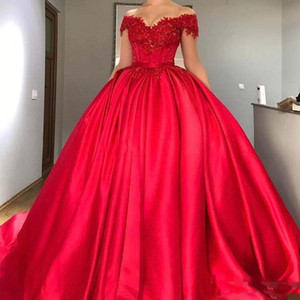 Modeste épaules rouge robe de bal Quinceanera perles satin Corset Appliques lacent Robes de bal Sweet Sixteen Robes