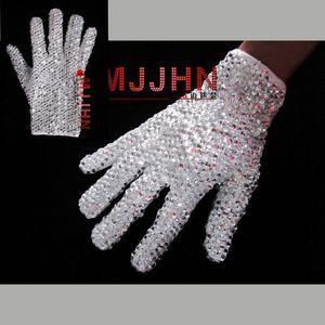 핸드 메이드 MJ 마이클 잭슨 Billie Jean의 싱글 사이드 샤이닝 라인 스톤 글러브에 대한 세부 정보