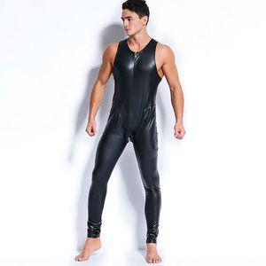 Sexy Men Faux Body de cuero de látex Fetish Gay Sissy Exótico Club Wear Monos Trajes sin mangas Juego de ropa Teddies Jumpsuits