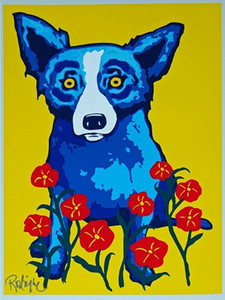 Джордж Rodrigue голубой собаки весной здесь высокое качество Ручная роспись HD Печать картины маслом Главная Декор стены искусства на холсте A137