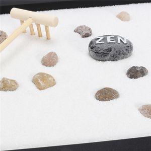 Halloween Natale moderno Zen Garden Sand Kit Ripiano da tavolo Yoga Meditazione Rocce di sabbia Rastrello Feng Shui Decorazioni artigianali per la casa