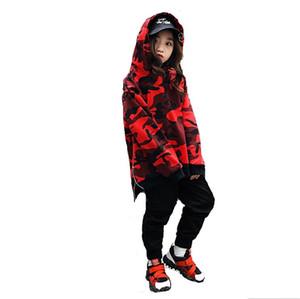 Adolescente Crianças Fatos de Treino Primavera Crianças Conjunto de Roupas Trajes Âncoras Hip Hop Calças de Dança + Camuflagem T-shirt 2 Pcs Ternos Twinset