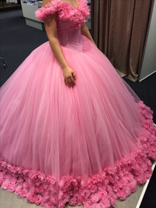 Quinceanera Dresses Prom Dress Evening Wear Masquerade Gowns 2019 Modest Fashion Sweet 16 Occasion Birthday Party 3D Rose Flowers Lace Up