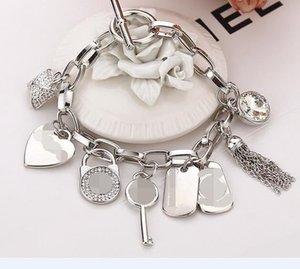 2018 الأساور MK العلامة التجارية الشهيرة مع الحب قلب الكريستال جوهرة 925 المعلقات الفضة الاسترليني أو الذهب مطلي سحر الأساور الإسورة المجوهرات