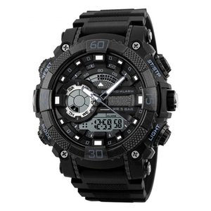 SexeMara Dual Display Multifuncional Digital Quartz 50M Cronógrafo Impermeável LED Watch