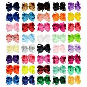 40 cores de 6 polegadas Moda Bebê laço de fita grampo clipes meninas Grande bowknot barrete de cabelo Crianças Boutique Arcos Crianças Cabelo Acessórios KFJ125